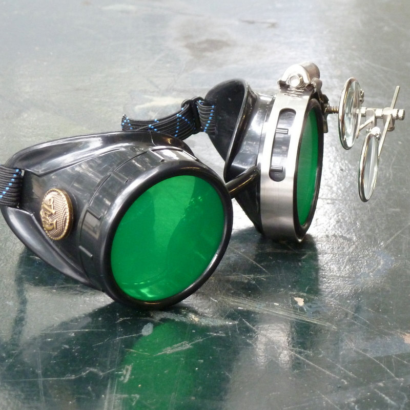 Black Goggles: Green Lenses w/ Brass Anchors & Eye Loupe