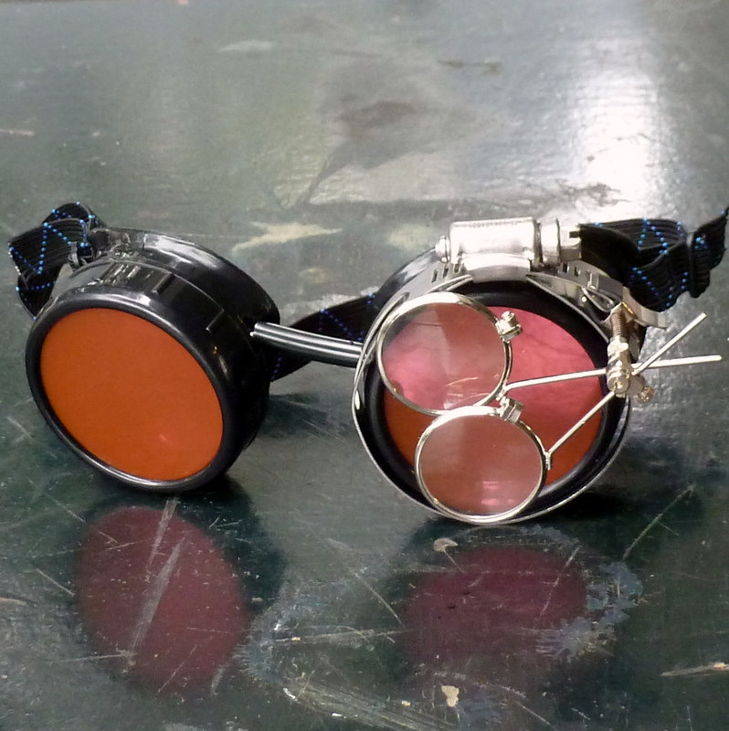 Black Goggles: Orange Lenses w/ Brass Anchors & Eye Loupe