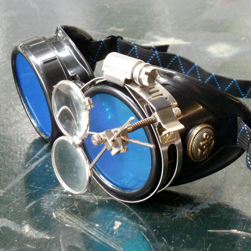 Black Goggles: Blue Lenses w/ Brass Anchors & Eye Loupe
