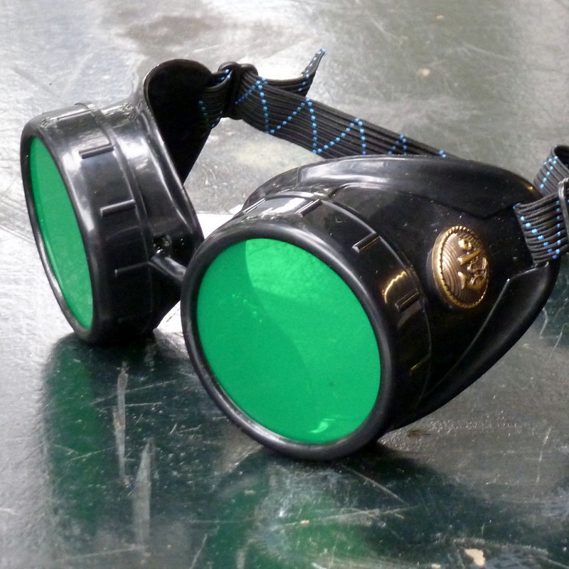 Black Goggles: Green Lenses w/ Brass Anchors