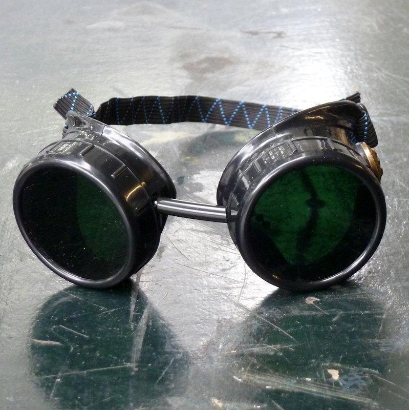 Black Goggles: Dark Lenses w/ Brass Anchors