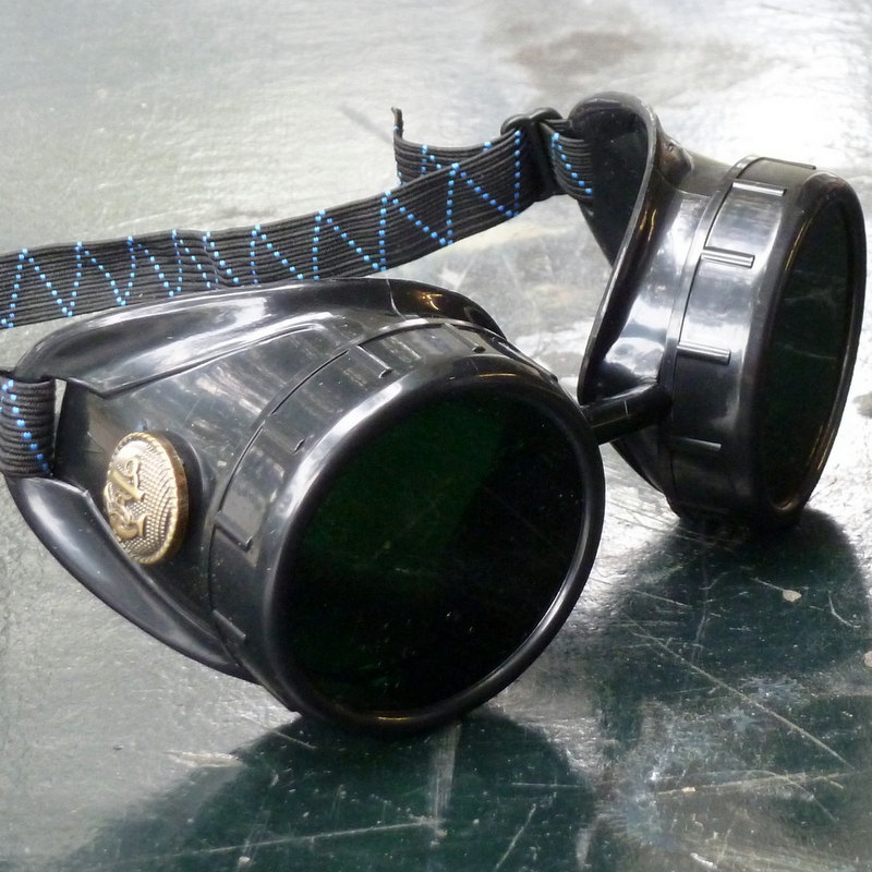 Black Goggles: Dark Lenses w/ Brass Anchors