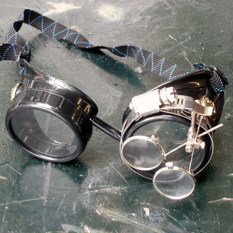 Black Goggles: Clear Lenses w/ Brass Anchors & Eye Loupe
