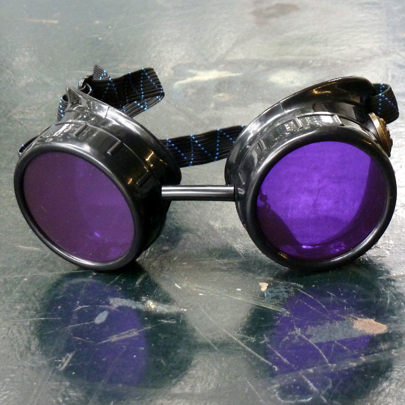 Black Goggles: Purple Lenses w/ Brass Anchors