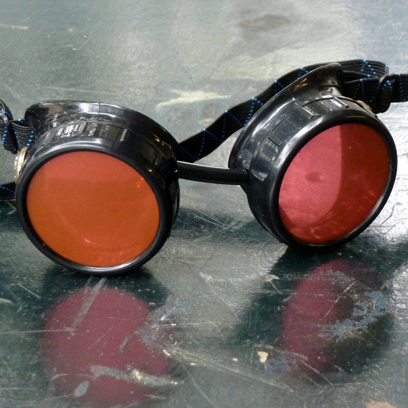 Black Goggles: Red Lenses w/ Brass Anchors