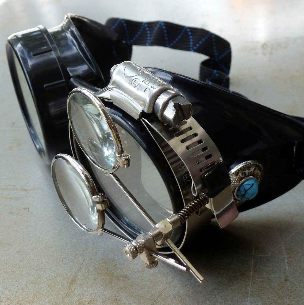 Black Goggles: Clear Lenses w/ Eye Loupe & Blue Turquoise Side Pieces