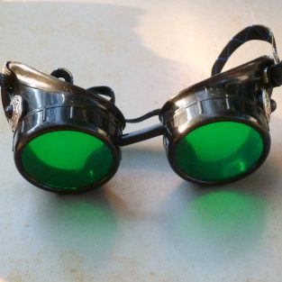 Black Goggles: Green Lenses w/ Turquoise Side Pieces