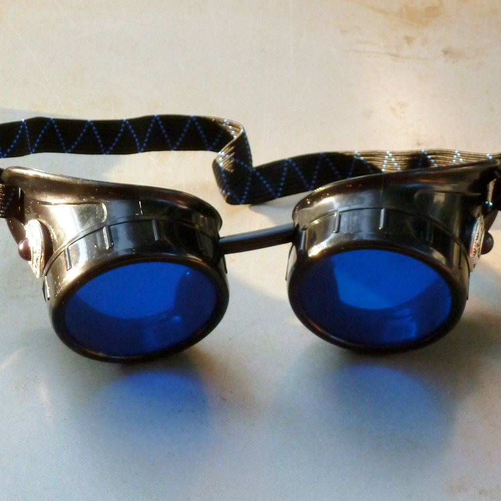 Black Goggles: Blue Lenses w/ Turquoise Side Pieces