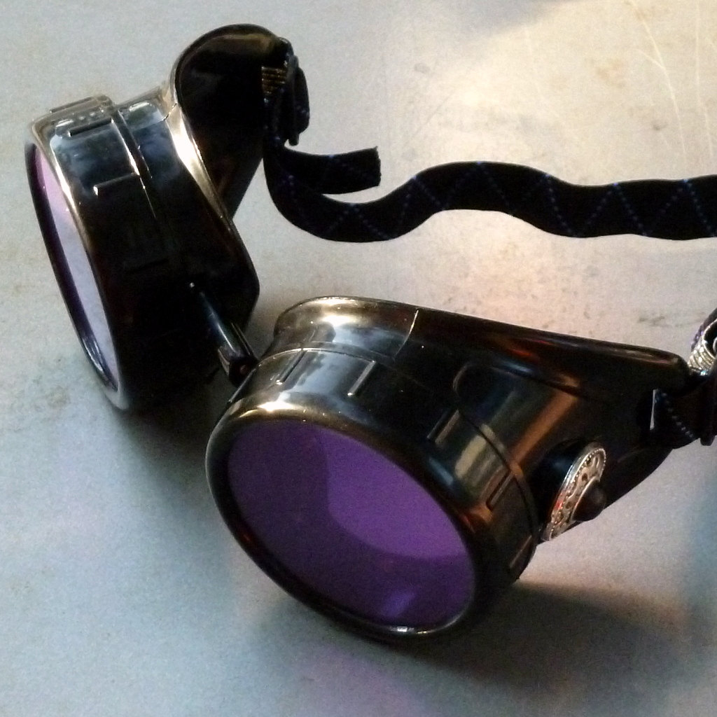 Black Goggles: Purple Lenses & Black Turquoise Side Pieces
