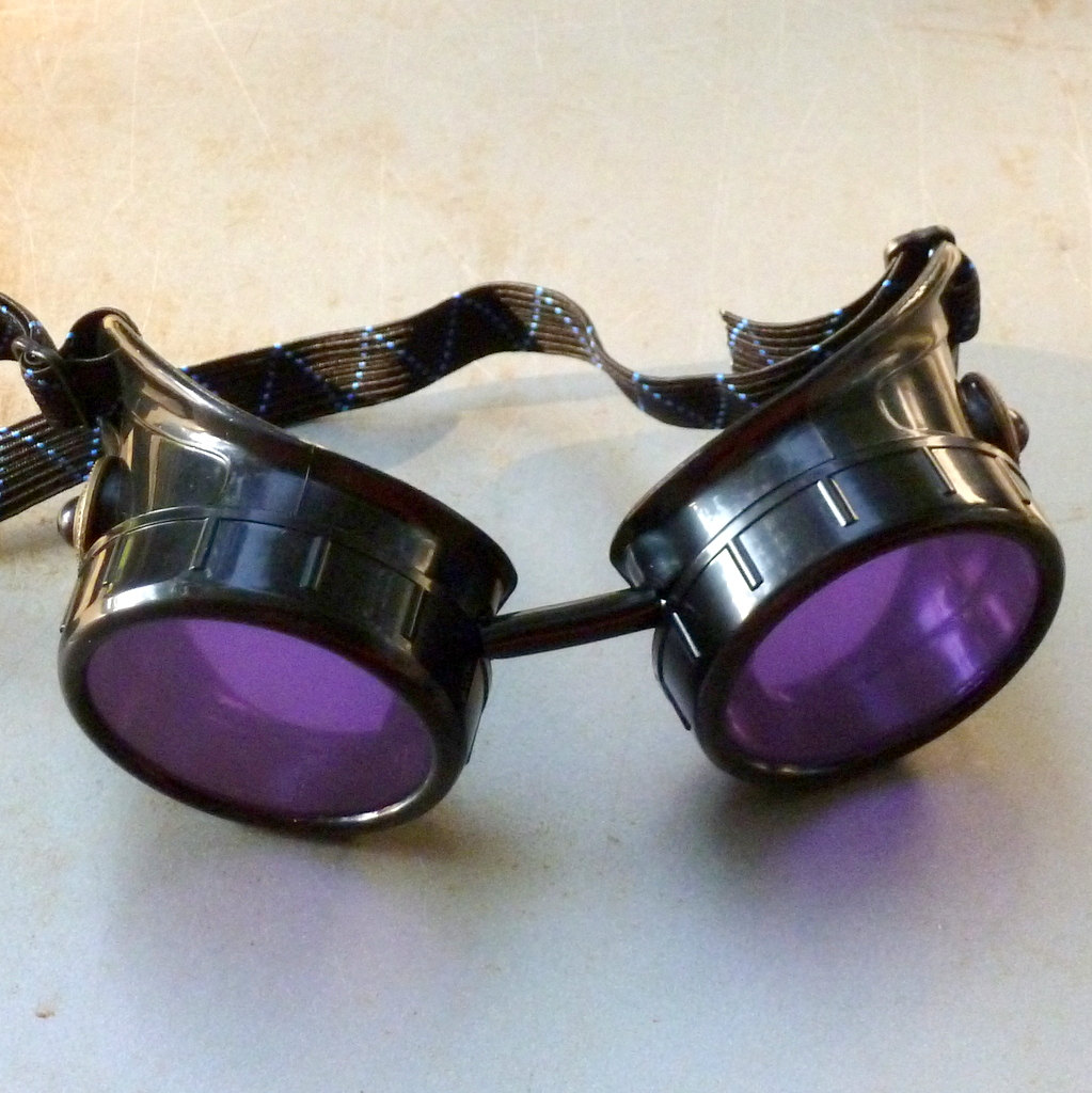 Black Goggles: Purple Lenses & Black Turquoise Side Pieces