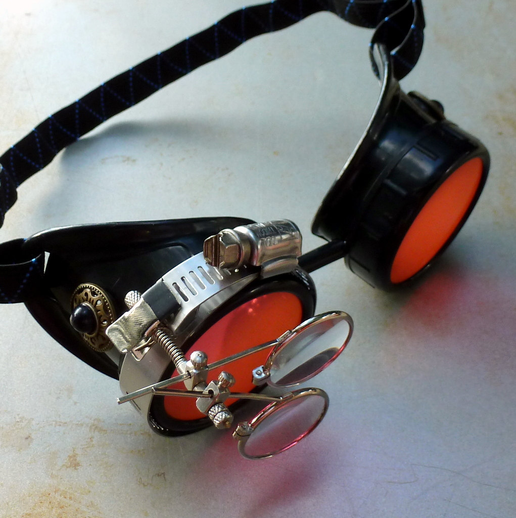 Black Goggles: Orange Lenses w/ Eye Loupe & Black Turquoise Side Pieces