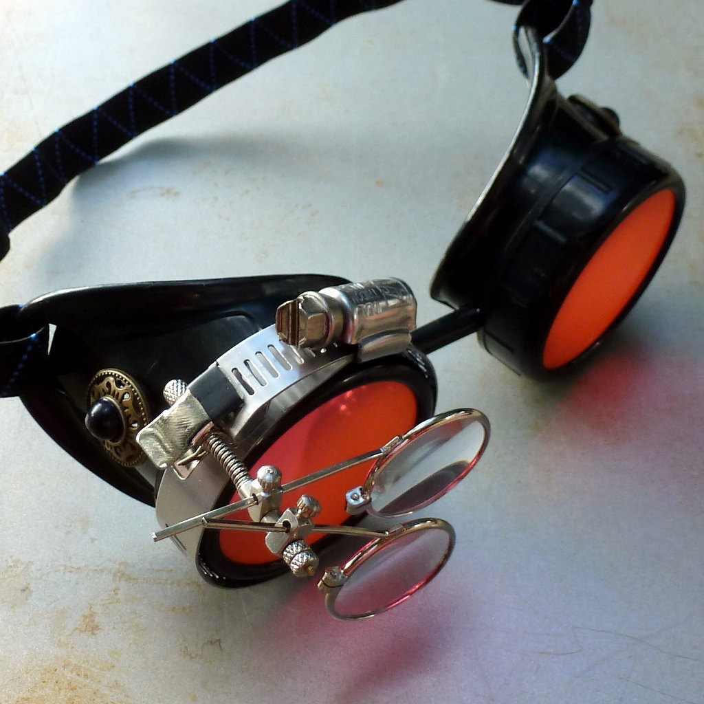 Black Goggles: Orange Lenses w/ Eye Loupe & Black Turquoise Side Pieces