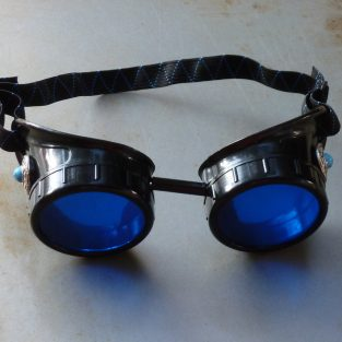 Black Goggles: Blue Lenses w/ Blue Turquoise Side Pieces