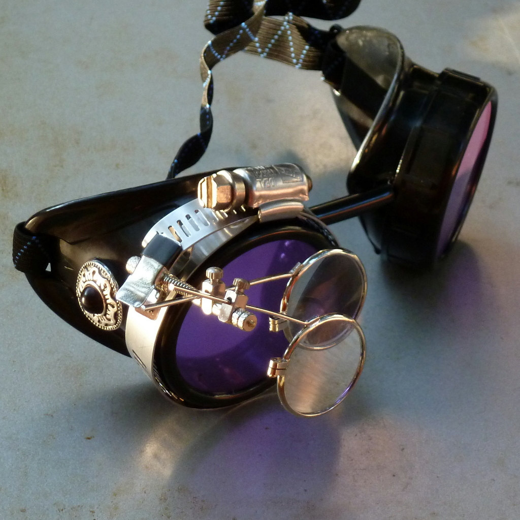 Black Goggles: Purple Lenses w/ Eye Loupe & Black Turquoise Side Pieces