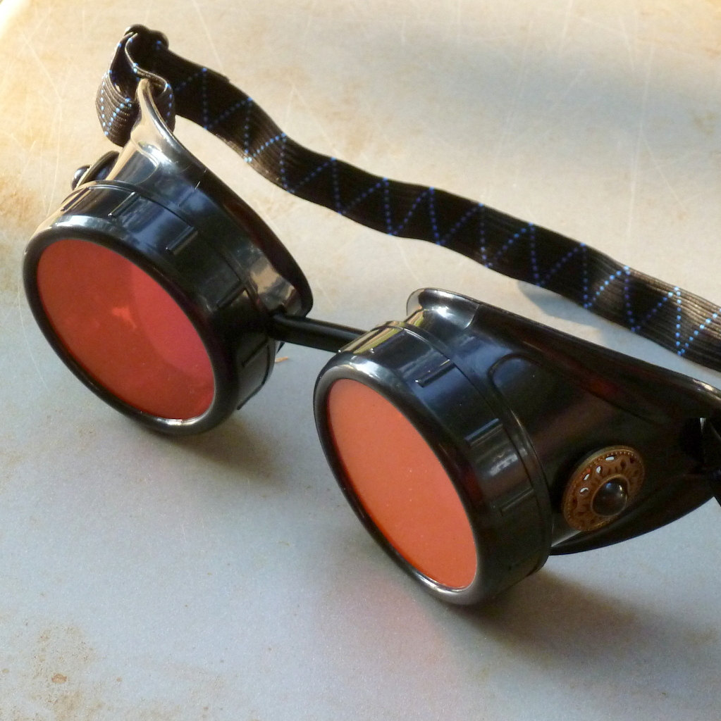 Black Goggles: Orange Lenses w/ Black Turquoise Side Pieces