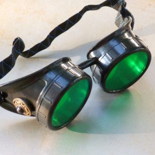 Black Goggles: Green Lenses w/ Black Turquoise Side Pieces
