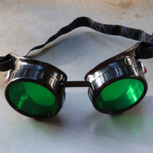 Black Goggles: Green Lenses & Red Marbled Side Pieces