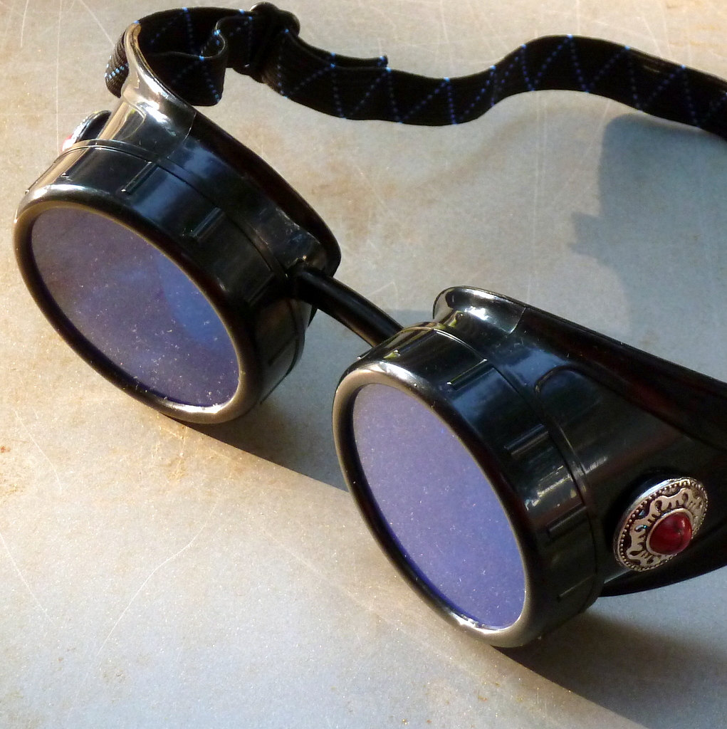 Black Goggles: Blue Lenses & Red Marbled Side Pieces