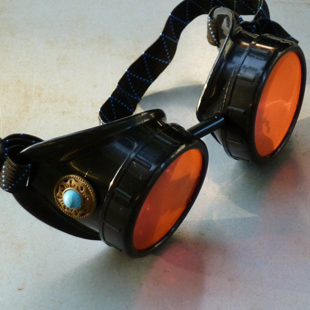 Black Goggles with Orange Lenses