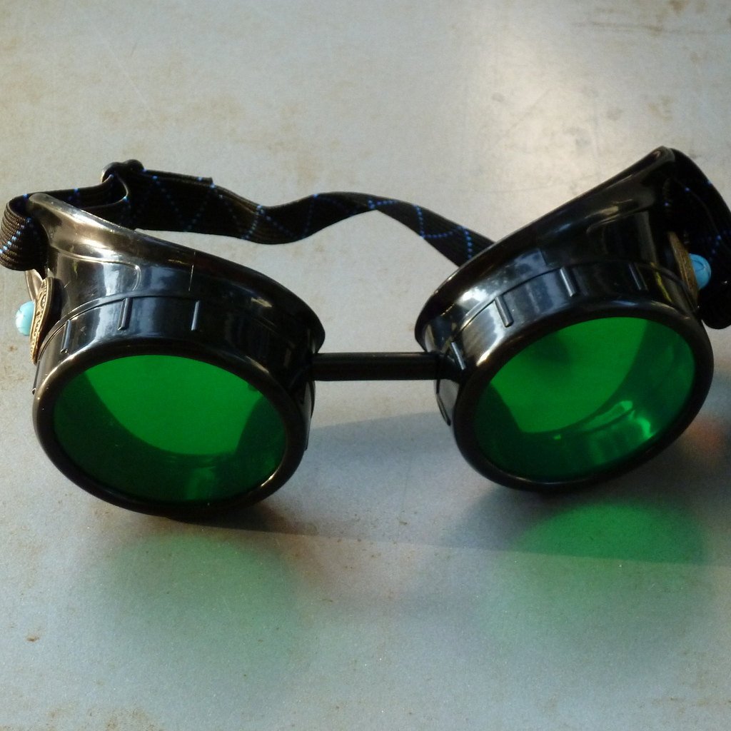 Black Goggles: Green Lenses & Blue Turquoise Side Pieces