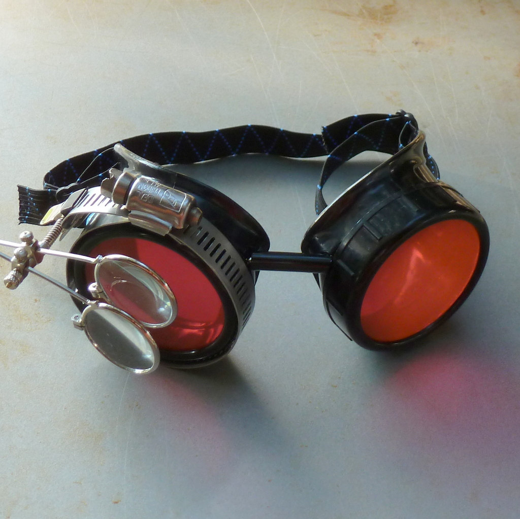 Black Goggles: Orange Lenses w/ Eye Loupe & Blue Turquoise Side Pieces