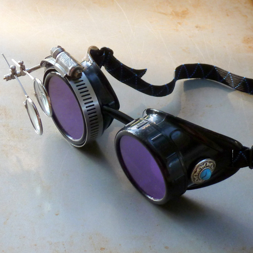 Black Goggles: Purple Lenses w/ Eye Loupe & Blue Turquoise Side Pieces