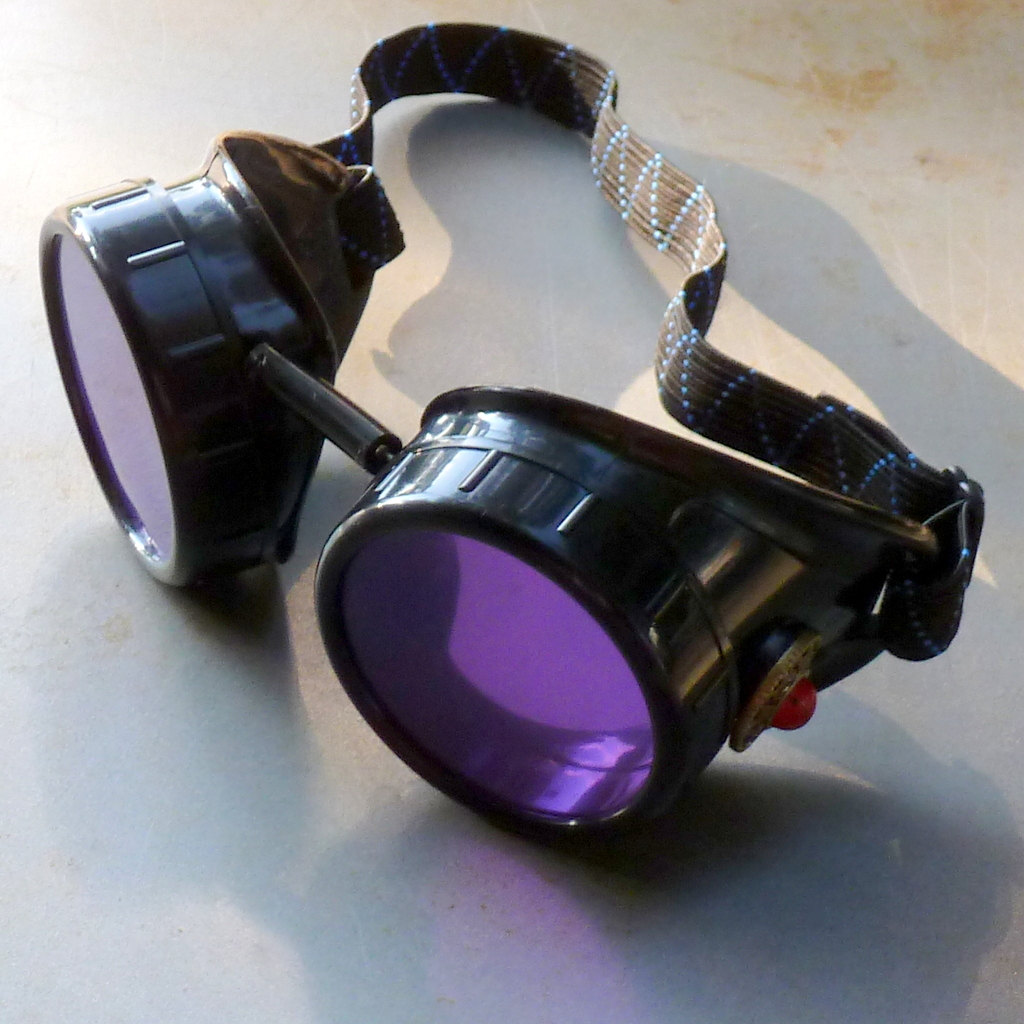 Black Goggles: Purple Lenses w/ Red Turquoise Side Pieces