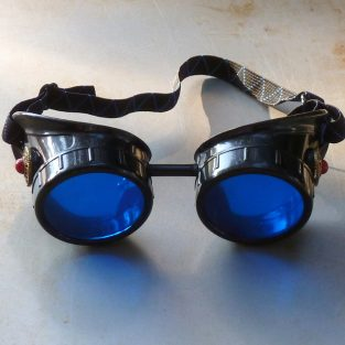 Black Goggles: Blue Lenses w/ Red Turquoise Side Pieces