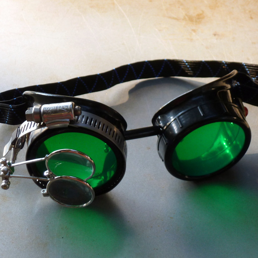 Black Goggles: Green Lenses w/ Eye Loupe & Red Turquoise Side Pieces