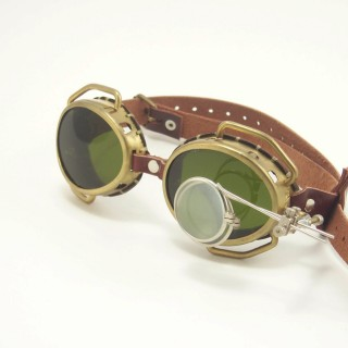 Brass Goggles: Brown Leather, Green Lenses & Eye Loupe