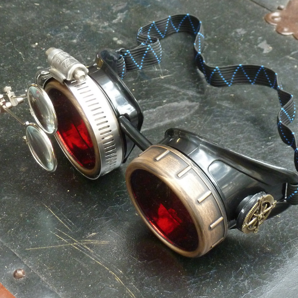 Black & Bronze Goggles: Red Lenses w/ Nickel Compass Rose & Eye Loupe