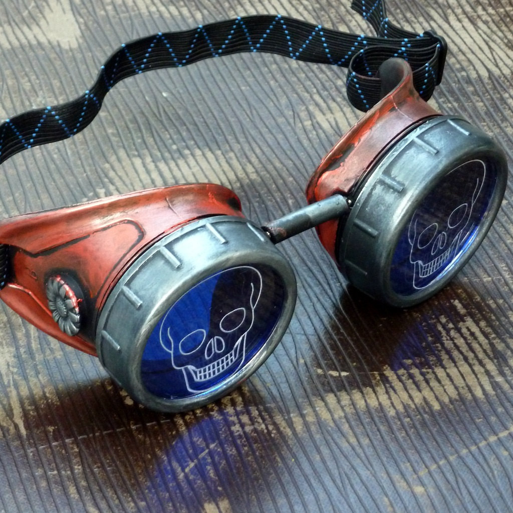 Red Copper Toned Goggles: Blue Lenses w/ Etched Cogs