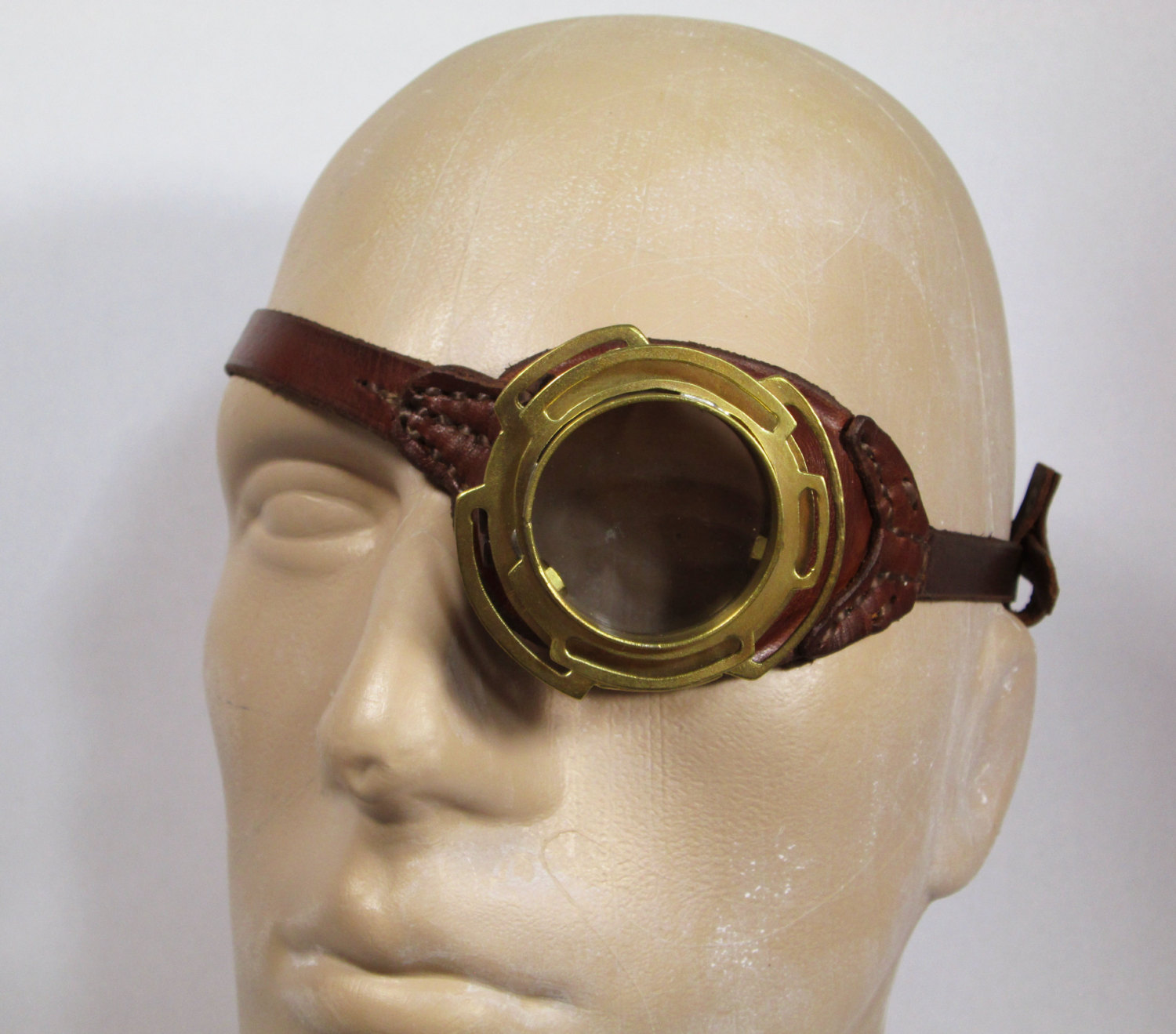 Mad Scientist Brass Monocle In Leather