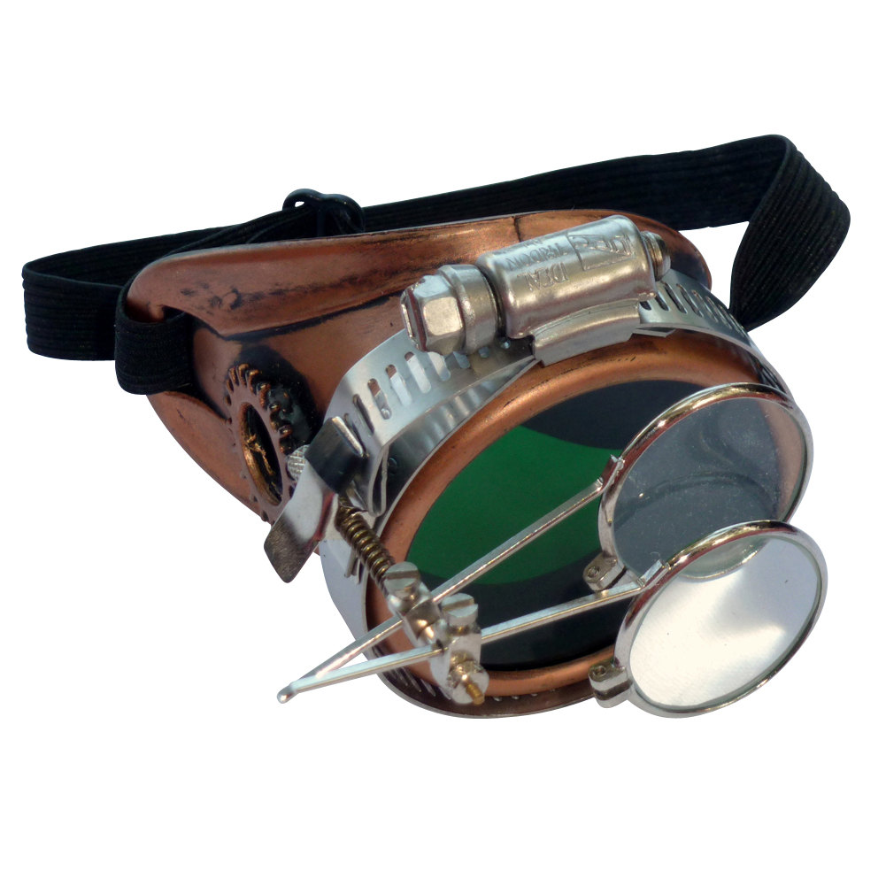 Copper Toned Monocle : Green Lenses w/ Eye Loupe
