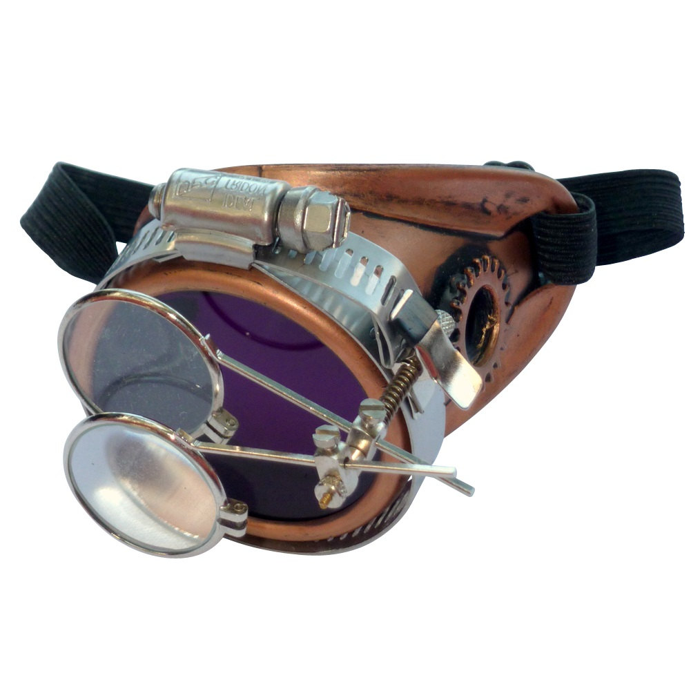 Copper Toned Monocle : Purple Lenses w/ Eye Loupe