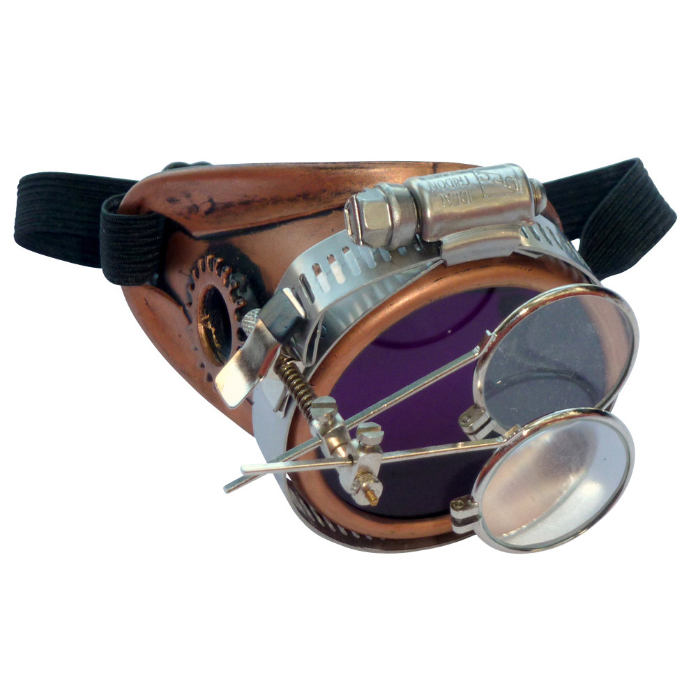 Copper Toned Monocle : Purple Lenses w/ Eye Loupe