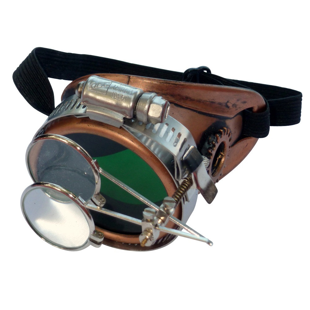 Copper Toned Monocle : Green Lenses w/ Eye Loupe