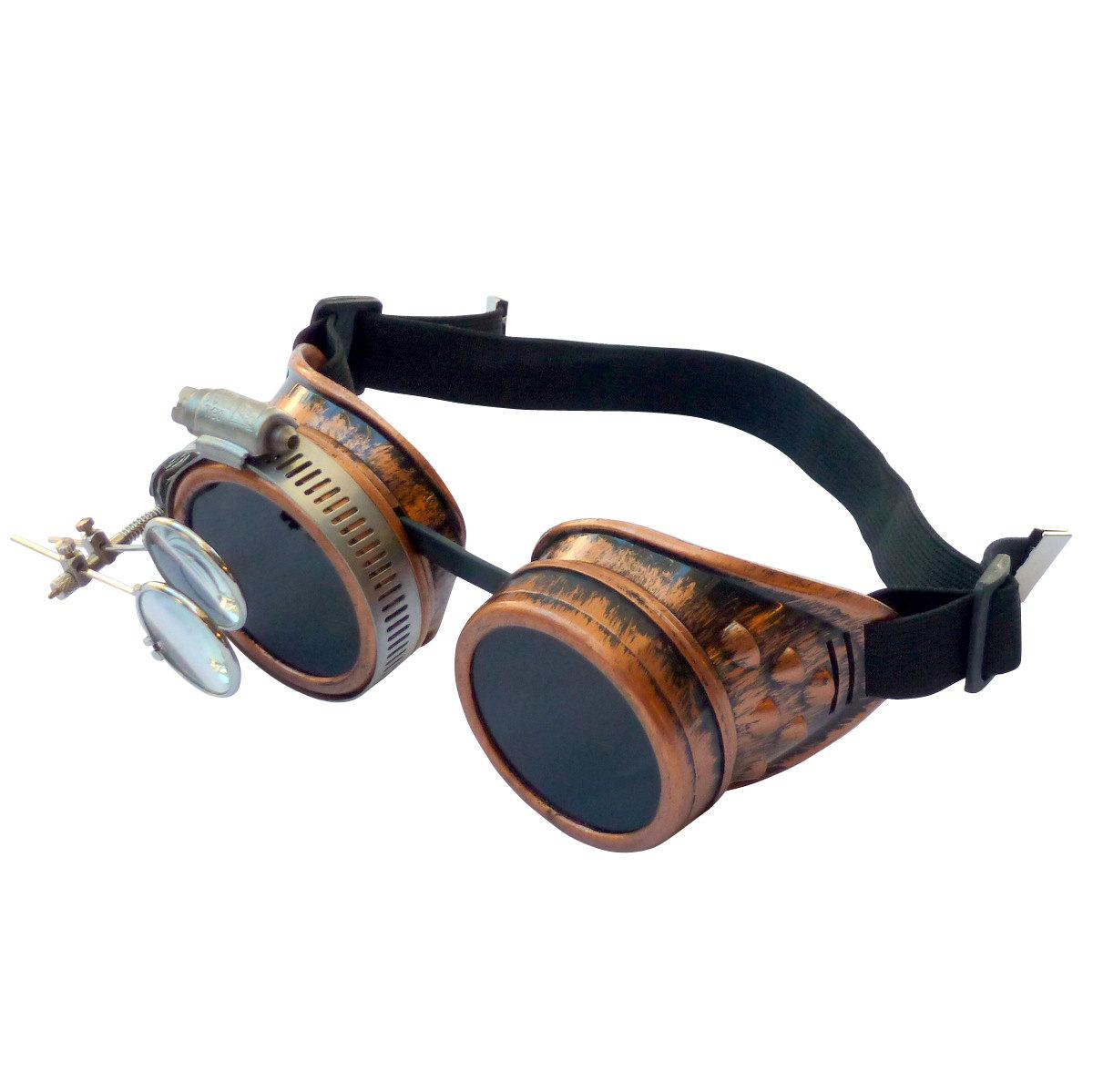 Copper Toned Goggles: Dark Lenses /w Eye Loupe