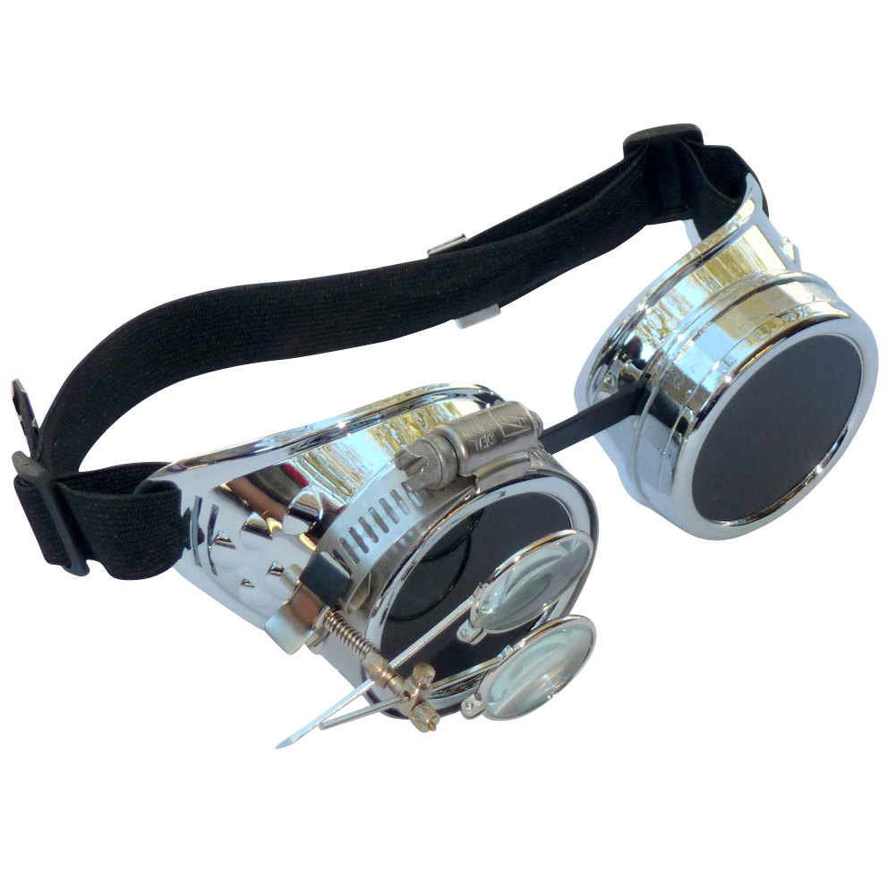 Chrome Goggles w/ Eye Loupe & Dark Lenses