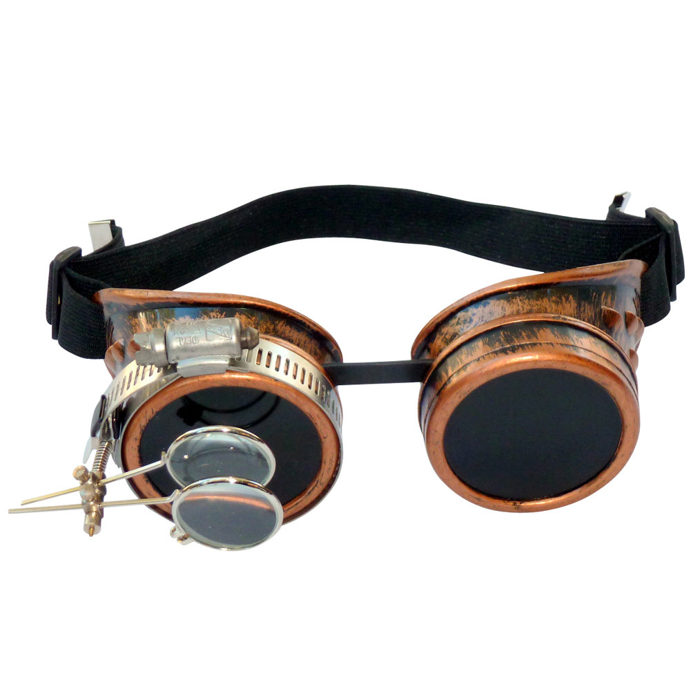Copper Toned Goggles: Dark Lenses /w Eye Loupe
