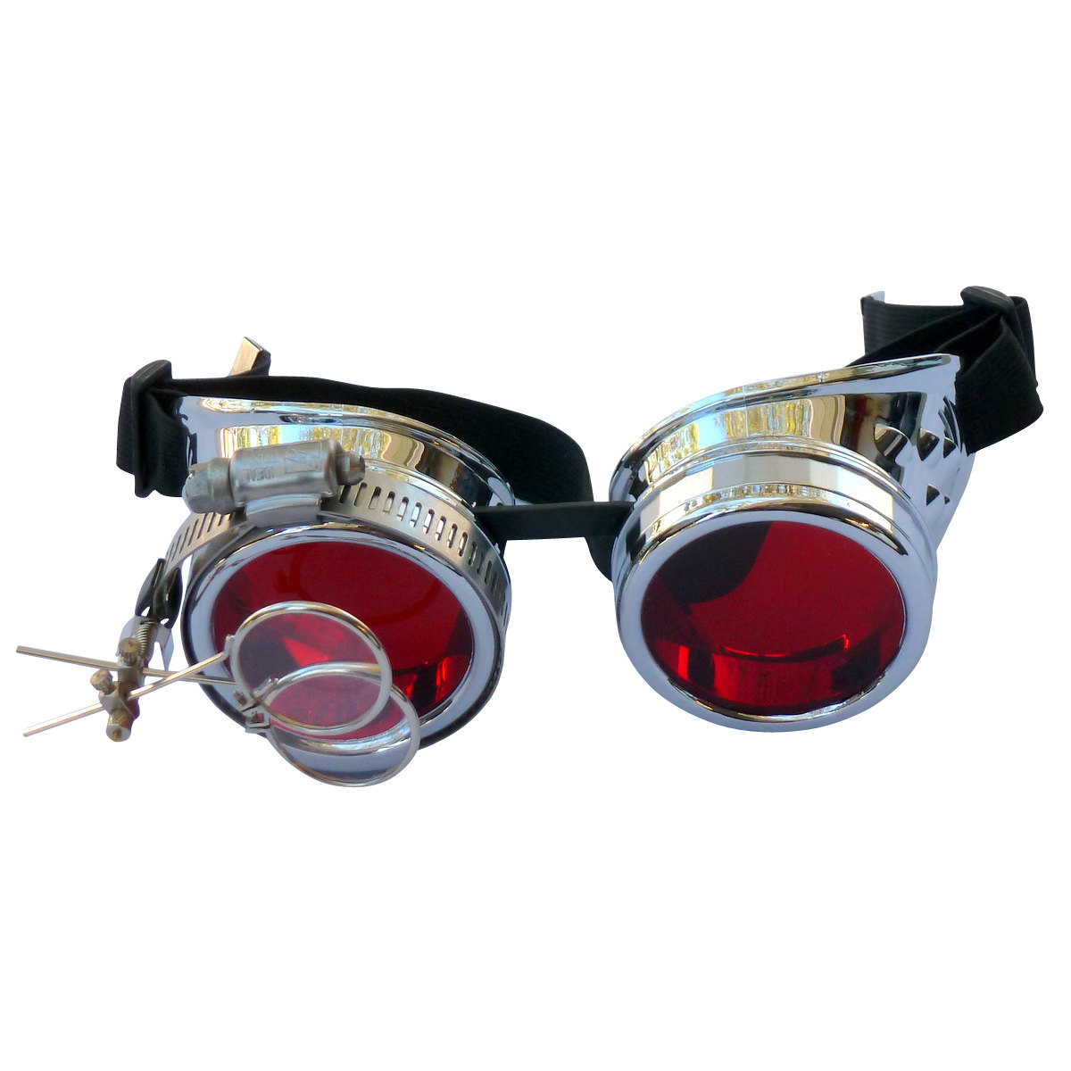 Steel Toned Goggles: Red Lenes w/ Eye Loupe