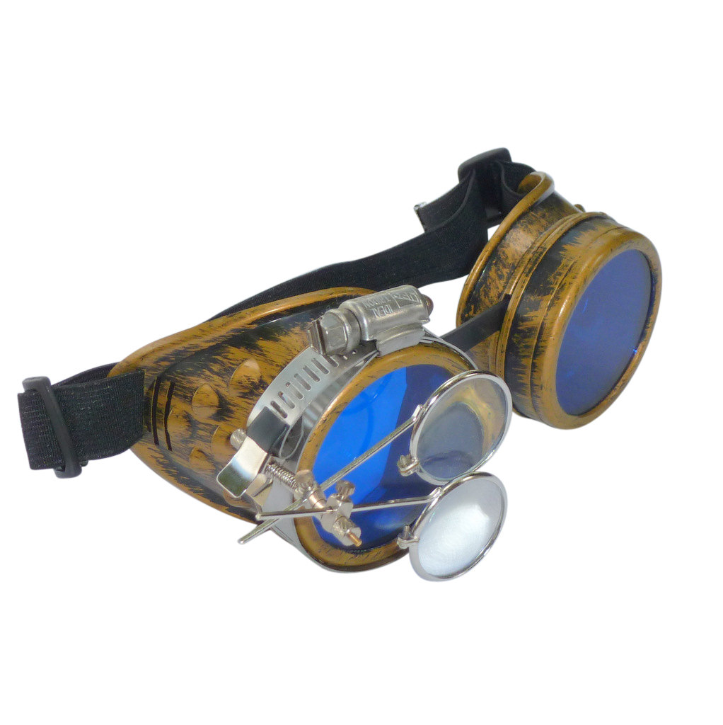 Gold Goggles: Blue Lenses w/ Eye Loupe