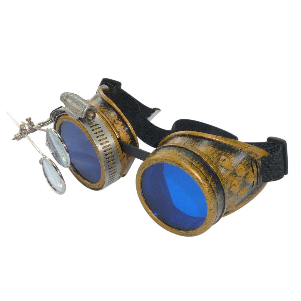 Gold Goggles: Blue Lenses w/ Eye Loupe