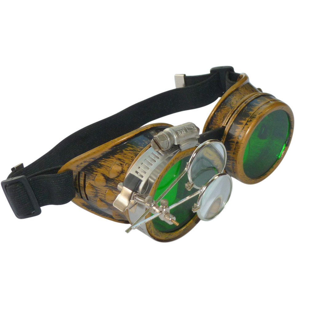 Gold Goggles: Green Lenses w/ Eye Loupe