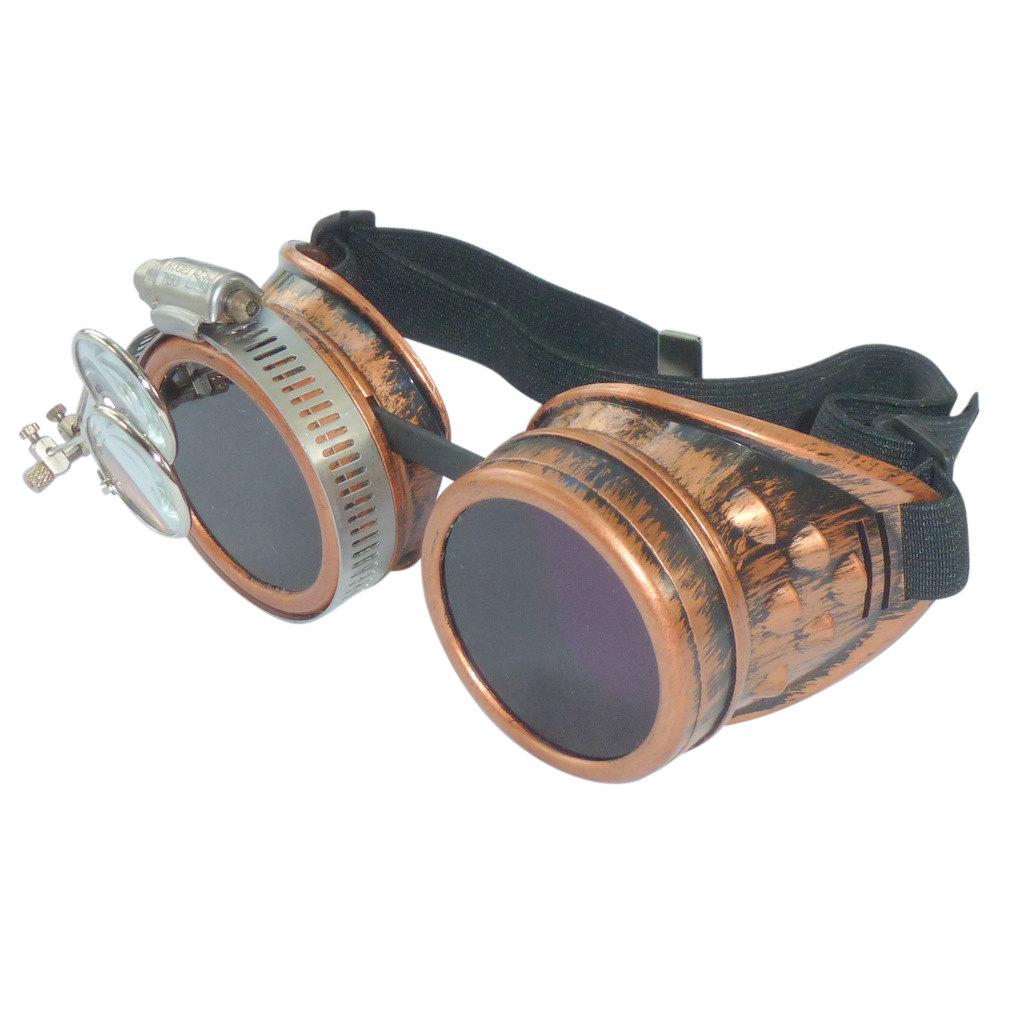 Bronze Goggles: Purple Lenses w/ Eye Loupe