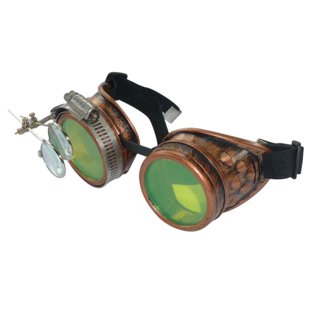Copper Toned Goggles: Green Lenses w/ Eye loupe