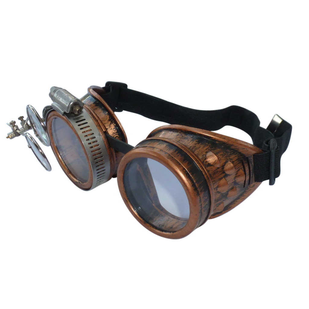 Copper Toned Goggles: Clear Lenses w/ Eye loupe