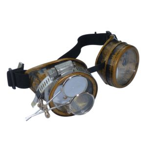Bronze Goggles: Clear Lenses w/ Eye Loupe