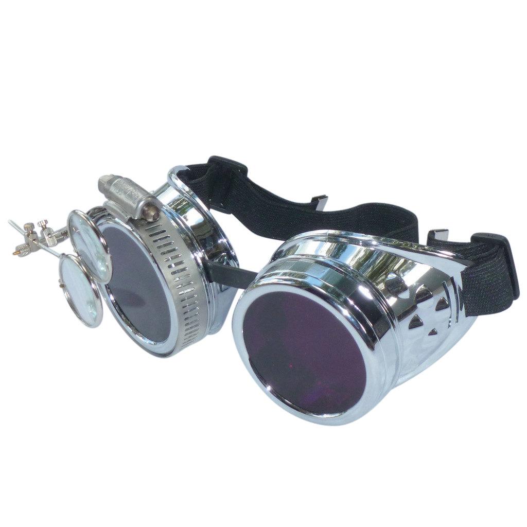 Chrome Goggles: Purple Lenses w/ Eye Loupe