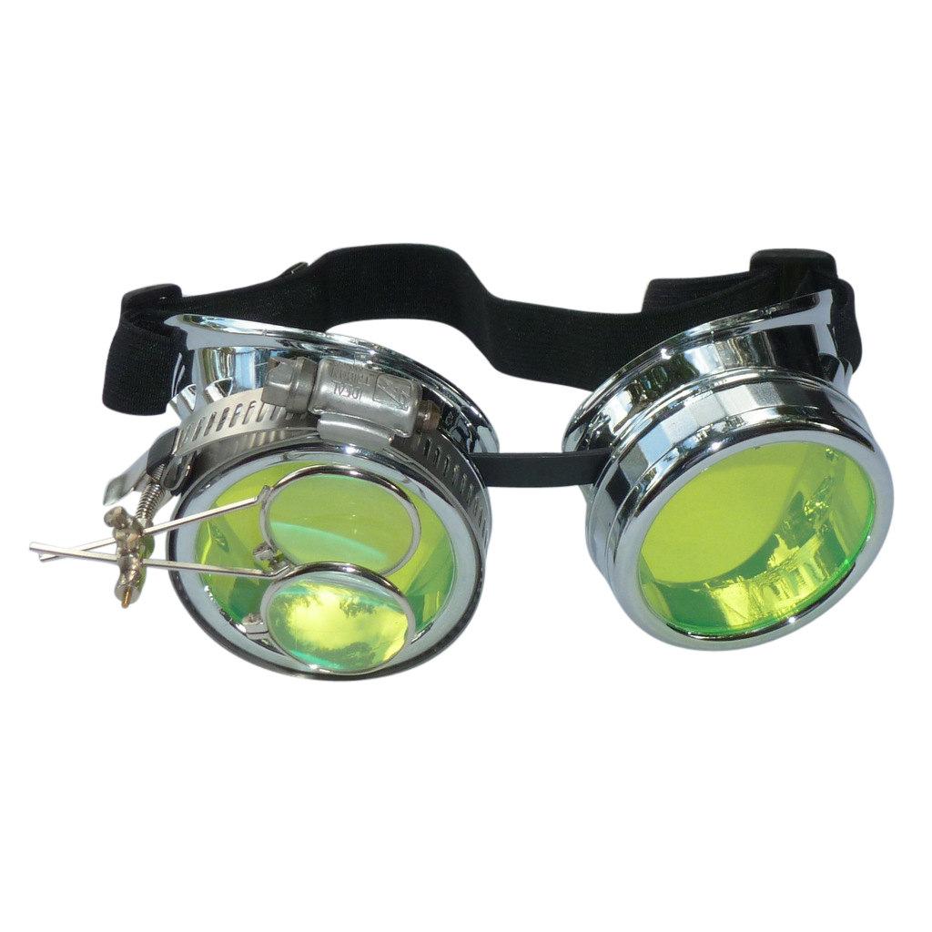 Chrome Goggles: Green Lenses w/ Eye Loupe